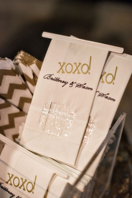 wedding reception favors xoxo and clear view area for take home candy and sweets