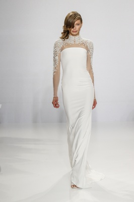 Christian Siriano for Kleinfeld Bridal column wedding dress with embroidered high neck long sleeves