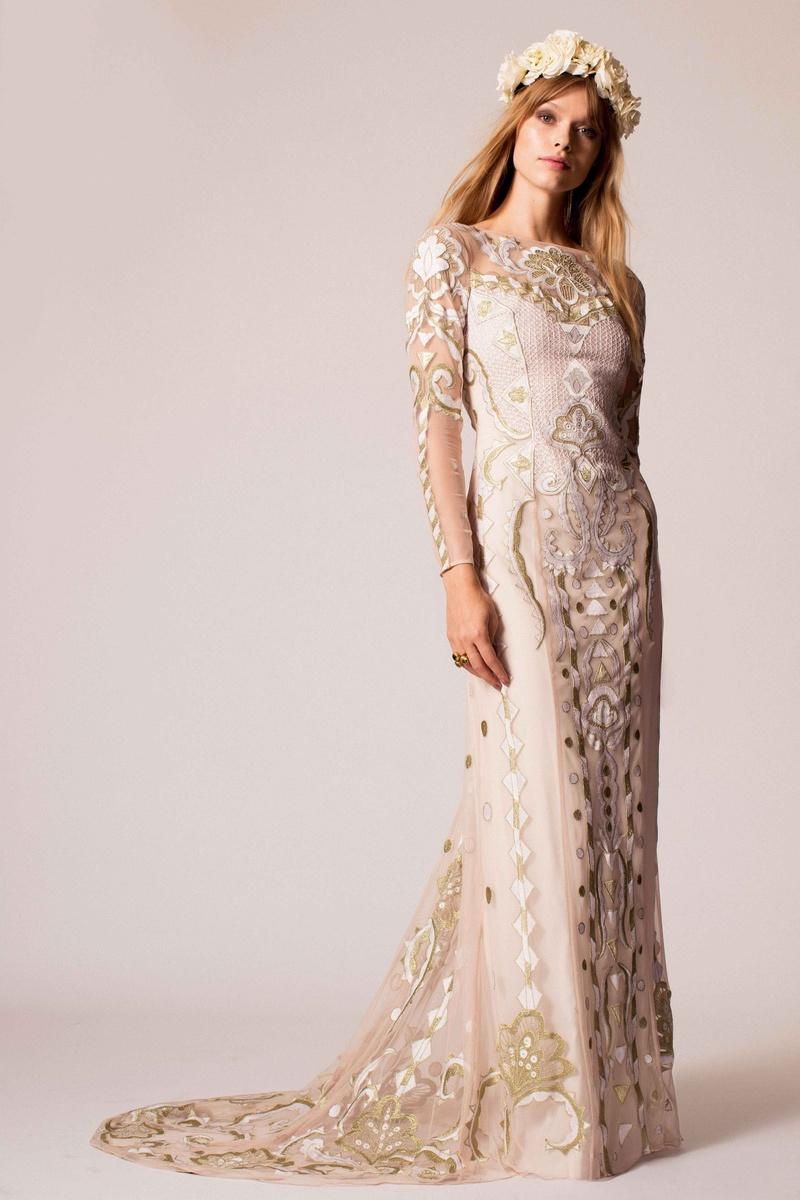 06479d4a858a Temperley Bridal 2016 long sleeve metallic gold embroidery wedding dress