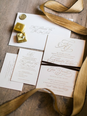Wedding invitation suite white ivory stationery with gold foil calligraphy gold lettering script