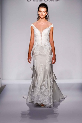 Pnina Tornai for Kleinfeld 2016 illusion off the shoulder lace wedding dress