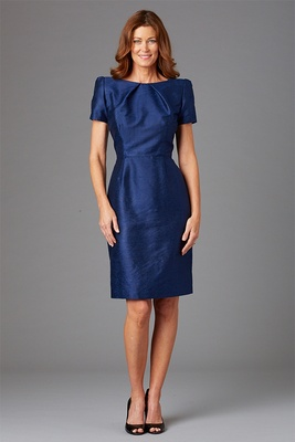 Siri Spring 2016 mother of the bride dress short navy blue gown with short sleeves and shoulder pads
