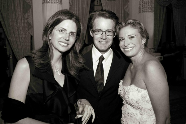 Black and white photo of Donatella Arpaia and Kyle MacLachlan