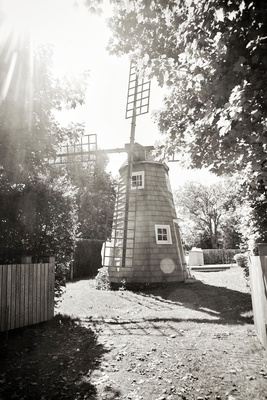 black and white photo of windmill at inn venue in the hamptons