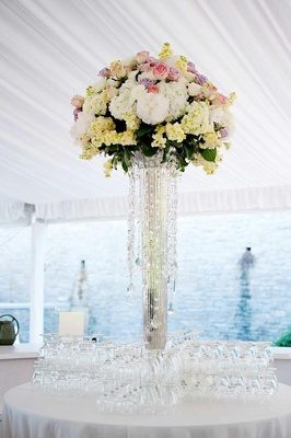 Wedding bar flower centerpiece with roses and hydrangeas
