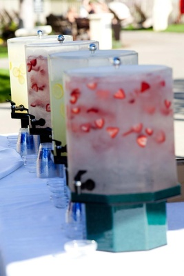 Wedding ceremony flavored water in dispensers