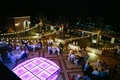 light-up dance floor, purple dance floor, outdoor reception