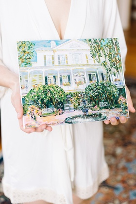 painting of south carolina wedding venue The Governor Thomas Bennett House art southern gift
