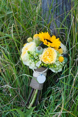 Green yellow rustic farm wedding in north carolina inside weddings green and yellow bridal bouquet wrapped in burlap mightylinksfo