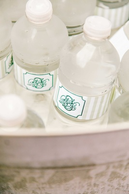 Water bottle wedding favors with personalized monogram stripe labels in green and tan