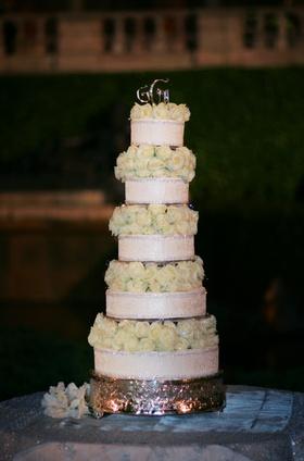 Display cake with white roses made of styrofoam