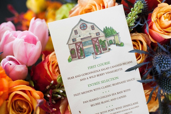 artsy menu, personalized drawing on menus artist rendition of dog and wedding venue