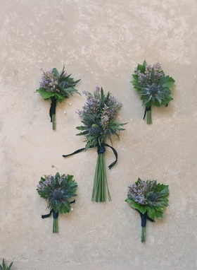 Boutonniere with Scottish thistle and lavender