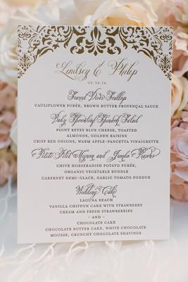 Ceci New York wedding reception menu with golden damask print