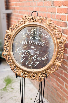 Wedding welcome sign Genevie and Chad calligraphy gold frame old vintage mirror