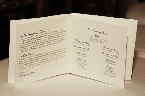 White and black ceremony booklets