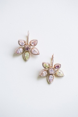 Bridal wedding jewelry flower petal earrings with stones
