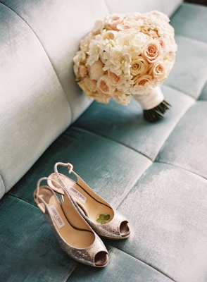 Four leaf clover on inside of Jimmy Choo bridal shoes