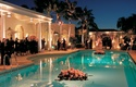 Outdoor pool wedding at private home in Bel Air