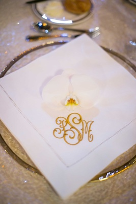 white reception napkin monogram in gold couple orchid pittsburg catholic wedding