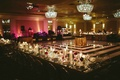 black-and-white striped dance floor, gold reception