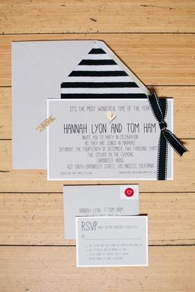 Black-and-white stripe envelope liner with gold heart invite