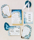 invitation suite inspired by blue agate with gold details