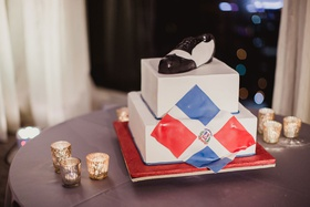 Groom's wedding cake two layer dominican republic flag and dance shoe black and white personalized