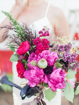 bright colorful bouquet pink purple california boho chic wedding styled shoot eclectic feminine bold