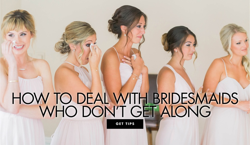 emotional bridesmaids in pale blush gowns dabbing eyes with tissues