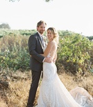 bride groom winery setting sonoma california wedding berta gown suit vineyard rustic