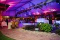 Wedding reception semi outdoor wedding reception dance floor dj station tables