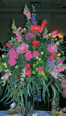 Reception centerpiece with abundance of flower types