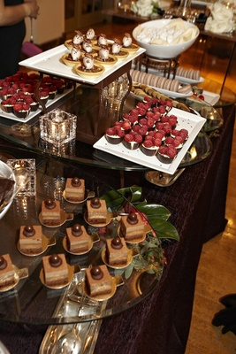 Wedding desserts on table display with chocolate treats