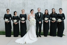 bride in martina liana, bridesmaids in adrianna pappell, man of honor in suit