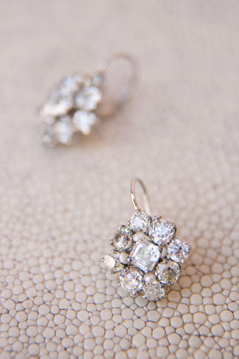 Wedding jewelry bridal ceremony earrings diamond cluster earrings