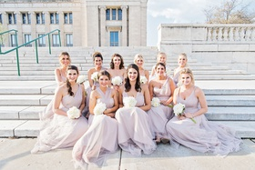 bridesmaids in wtoo by watters bridesmaid dresses light purple lavender pastel in chicago