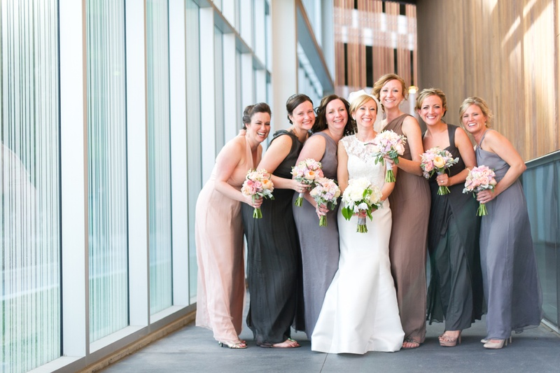 883e71a851 Brides & Bridesmaids Photos - Taupe and Grey Mismatched Dresses ...