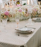 luxe linen cream cleopatra white pink flower runner mirror menu china
