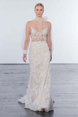 Dennis Basso for Kleinfeld 2018 collection wedding dress high neck long sleeve gown applique