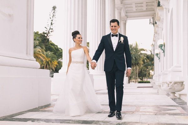 Henry Morrison Flagler Museum wedding, bride in romona keveza asymmetrical gown beaded belt