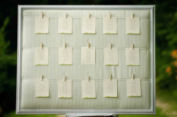 Wedding table assignments hanging from clothespins
