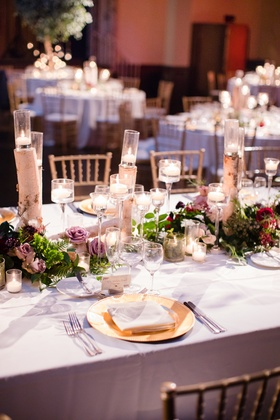 wedding reception table runner, birch tree branches, lavender roses, candles