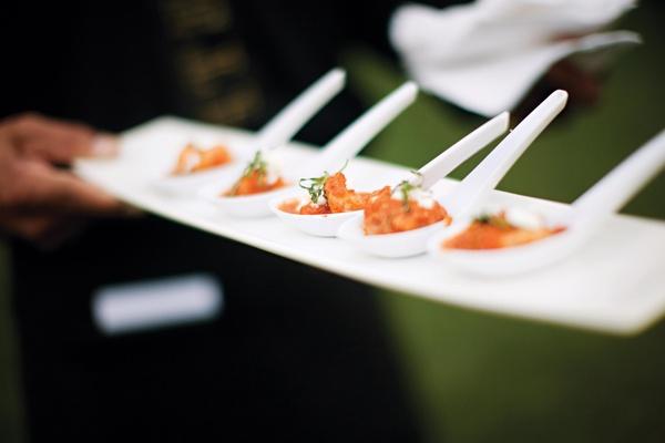 Shrimp Saganaki passed hors d'oeuvres