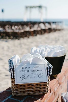 basket flip flops guests beach wedding gift white shoes sand oceanside california