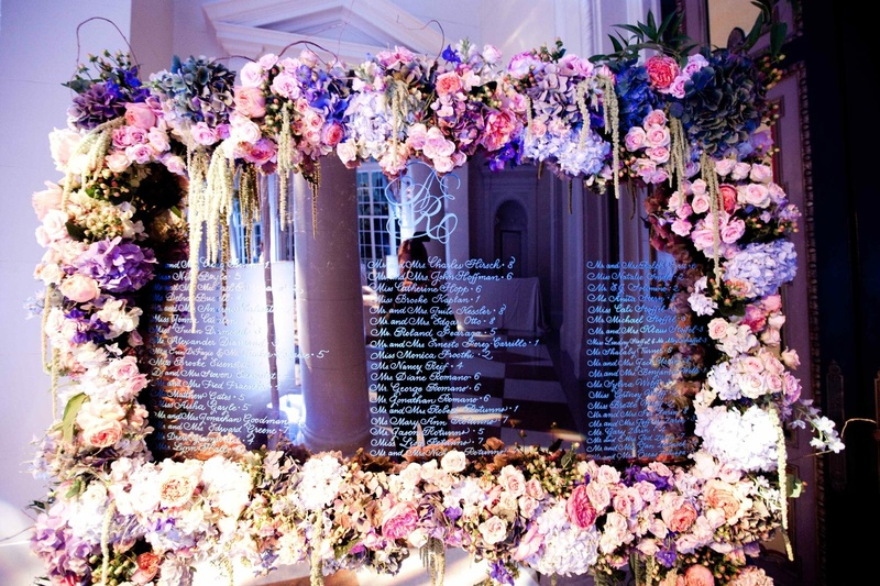 Wedding seating chart on mirror with flower border