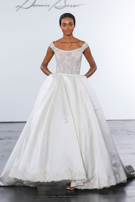 Dennis Basso for Kleinfeld 2018 collection wedding dress off shoulder ball gown pockets scoop neck
