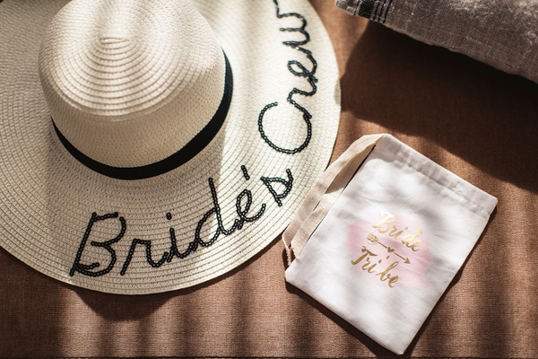 "destination wedding bridesmaid gifts, floppy hat embroidered with ""Bride's Crew"""