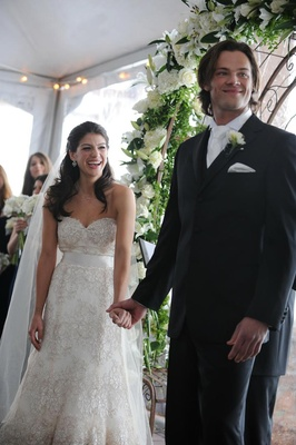 Genevieve Cortese and Jared Padalecki at wedding ceremony