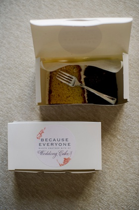 wedding cake box favor because everyone wants another bite of wedding cake sticker fork